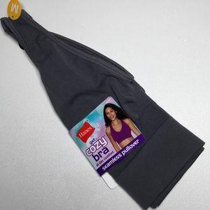 Hanes Get Cozy Bra MED Wire Free Pullover Gray